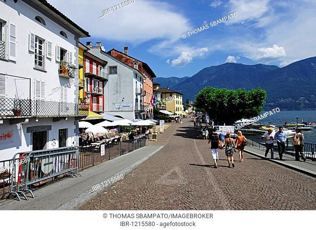 Promenade of Ascona on Lago Maggiore lake, Ticino, Switzerland, Europe
