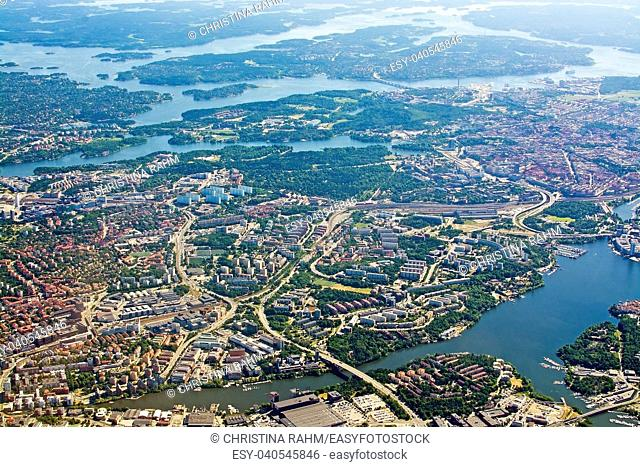 Aerial shot over Solna Lidingo Sweden during inflight to Arlanda airport on a sunny day in June in Stockholm, Sweden
