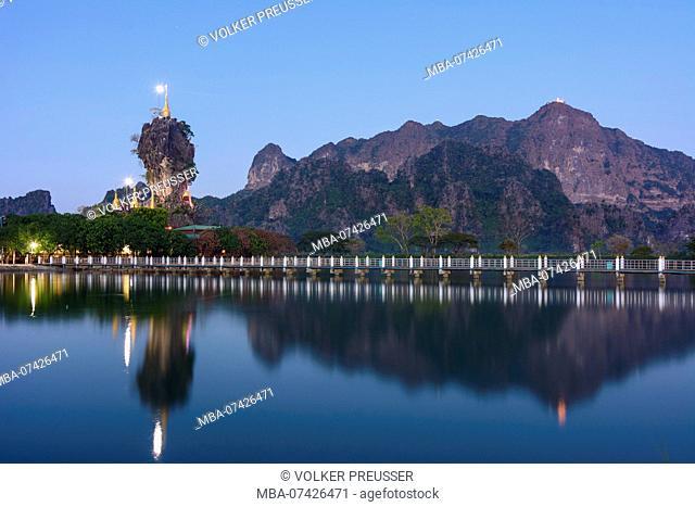 Hpa-An, Kyauk Kalap Buddhist monastery, pagoda, lake, mountain mount Mt Zwegabin, Kayin (Karen) State, Myanmar (Burma)