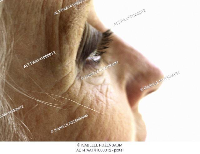 Senior woman's face, partial view, extreme close-up