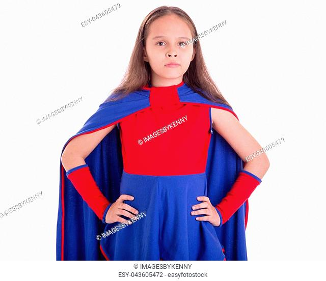 Girl in blue and red superhero costume with hands on hips