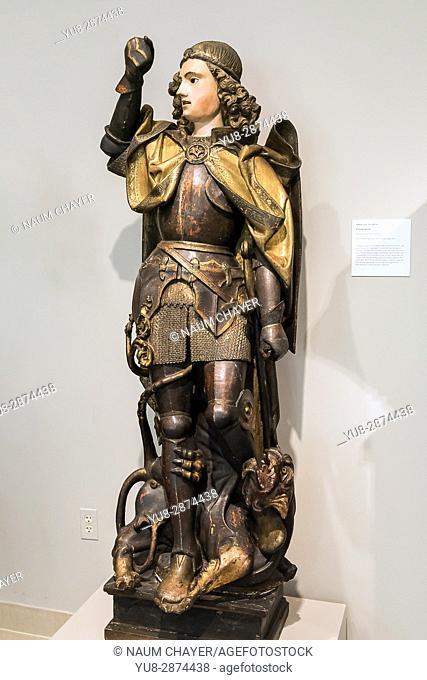 Wooden sculpture Archangel Michael, The Princeton University Art Museum, New Jersey, USA