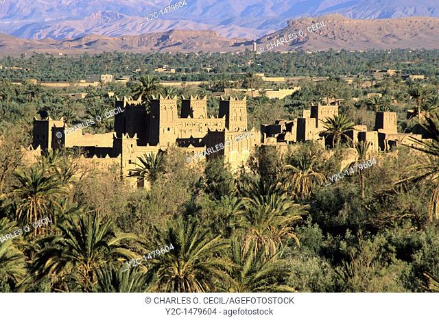 Near Skoura, Morocco  Ameridhil Kasbah in Early Morning Sun, Surrounded by Date Palms, Atlas Mountains in Background