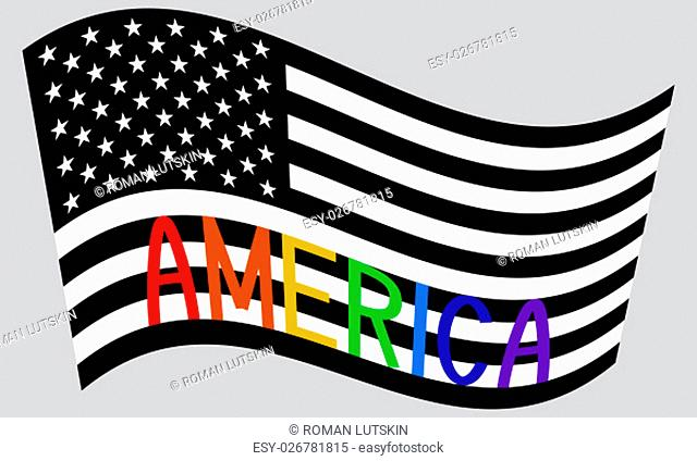 American flag waving in black and white colors with word America in rainbow colors on gray background