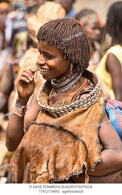 Hamer woman in the Dimeka market in the Omo Valley, Ethiopia