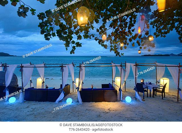 Romantic table by the sea on Koh Samui island, Thailand