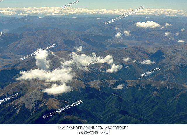 Aerial view, Oxford Forest in the Southern Alps, Canterbury Region, New Zealand