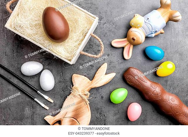 Variety of traditional Easter decoration on a rustic background