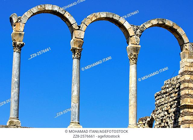 Arches and pillars in Anjar Castle