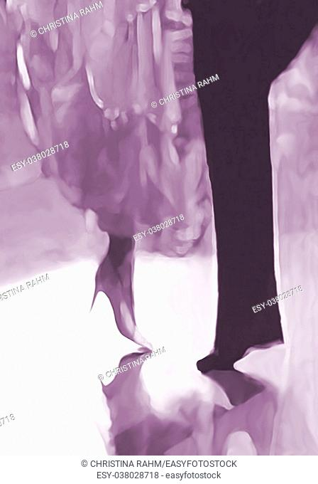 Ballroom dance floor abstract 21, digital painting in purple elegant male and female feet and dress