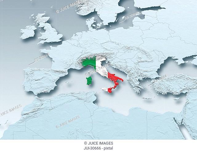 Italy, flag, map, Western Europe, grey, physical, grey, political