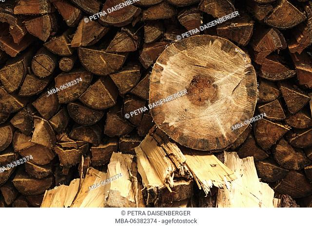 A round wooden slice lies on a pile of firewood