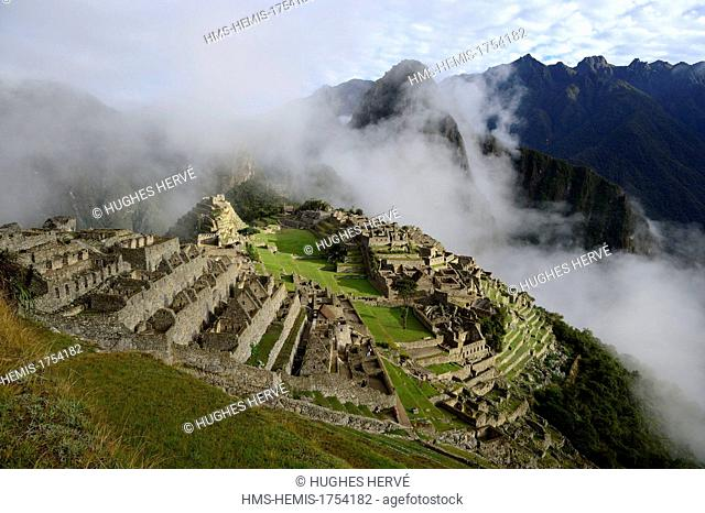 Peru, Cuzco province, Incas sacred valley, Inca archeological site of Machu Picchu, listed as World Heritage by UNESCO, built in the 15th century under the...