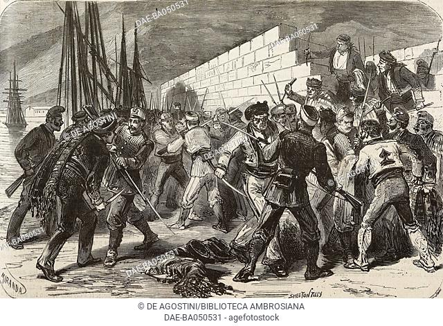 Disarming troops sent to restore order, Malaga, Spain, First Spanish Republic, illustration by Miranda and Smeeton Tilly from L'Illustration, Journal Universel