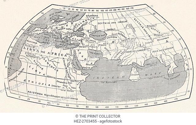 'Map of the World, According to Ptolemy', 1923. Creator: Agathodaemon of Alexandria