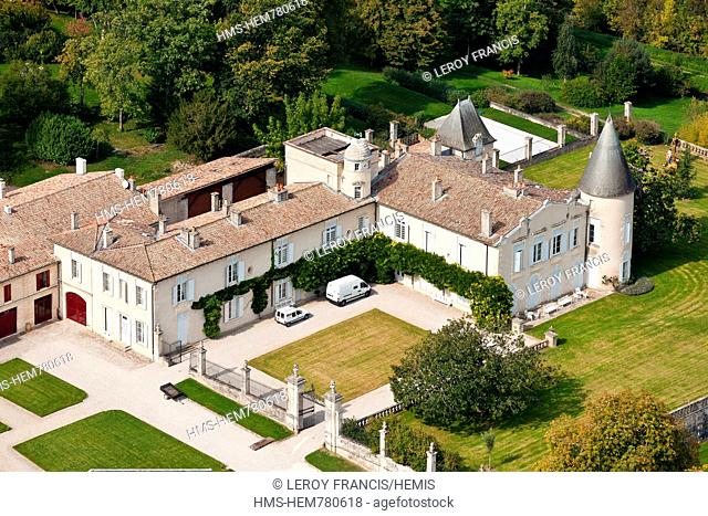 France, Gironde, Pauillac, Chateau Lafite Rothschild, 1st growth Pauillac aerial view