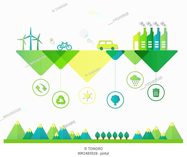 Infographic illustration related to environmental protection and ecological green energy