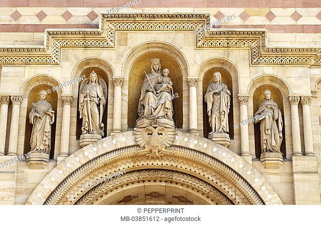 Speyerer, cathedral, detail, entrance-portal, west-portal, in two colors, five, decorates cartridges, Maria Archangel Michael Johannes of the Baptists Stephanus...
