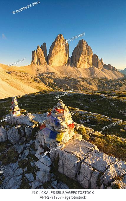 Three Peaks at sunset, Bolzano Province, Trentino Alto Adige, Italy