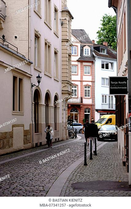 The listed Kapuzinerstraße in the old town of Mainz with historico-cultural buildings