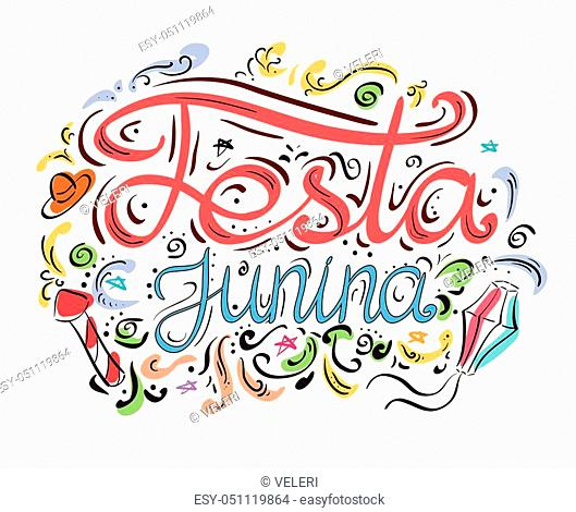 Postcard with lettering Festa junina. Hand drawn lettering. Vector card for your design