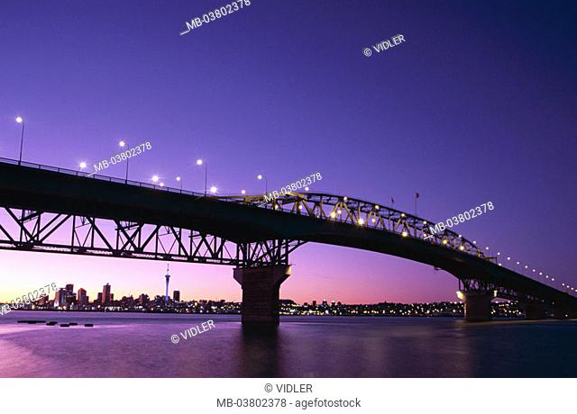 New Zealand, Auckland, view at the city,  Auckland Harbour bridge, evening mood,  Island, North island, cityscape, city, Sky city tower, television tower
