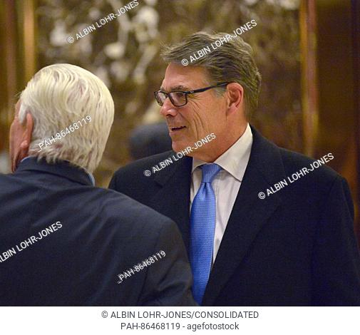 Former Texas Governor Rick Perry (R) is seen in the lobby of Trump Tower in New York, NY, USA, 12 December 2016, following his meeting with US President-elect...