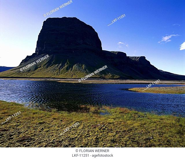 Lomagnúpur mountain at a river, Iceland, Europe