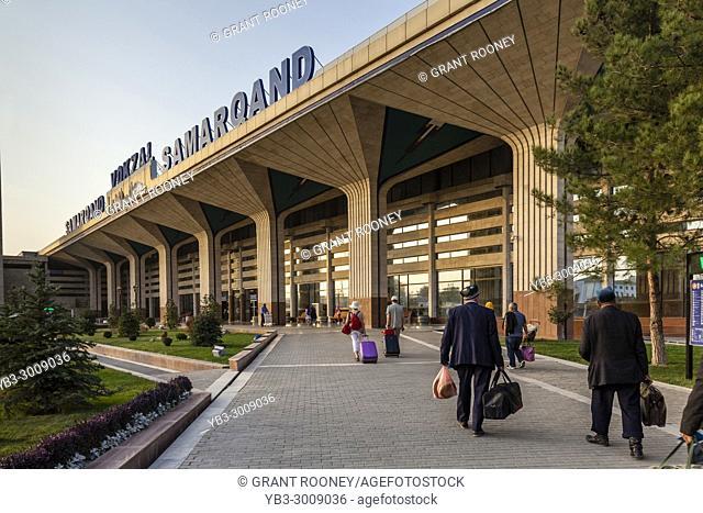 Tourists Ariiving At The Railway Station, Samarkand, Uzbekistan