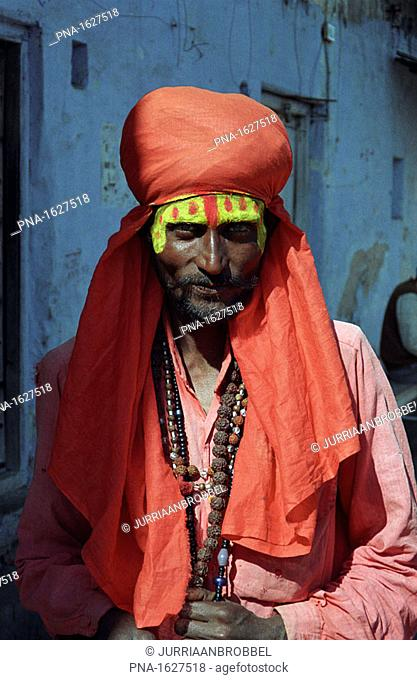 A sadhu, a holy man in the hindu religion, in the town of Pushkar, India