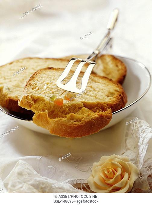 Crystallized fruit brioche-style bread