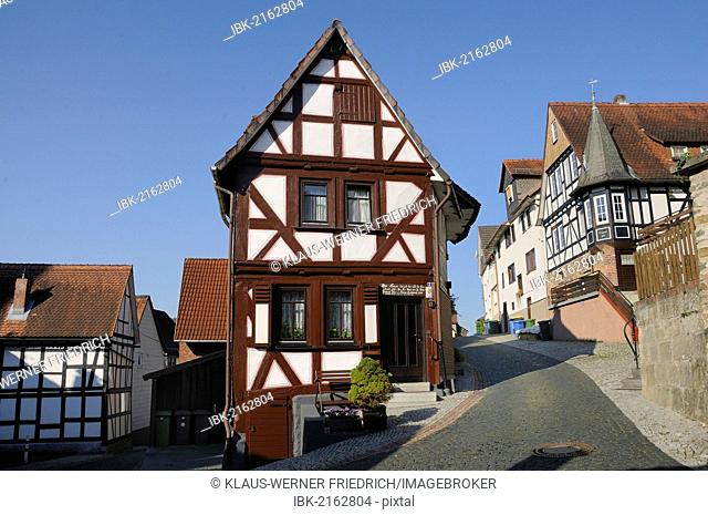 Narrow half-timbered building and site at the former city gate Neue Pforte, Biedenkopf, Hinterland, district of Marburg-Biedenkopf, Hesse, Germany, Europe