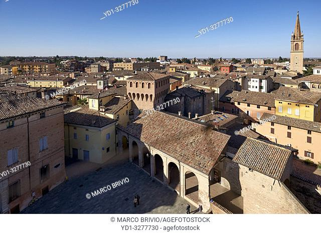 Vignola, Modena, Emilia Romagna, Italy. Aerial view of the town from the Rocca (castle)
