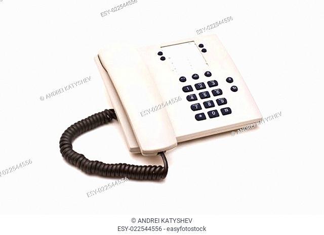 Grey plastic telephone on white background