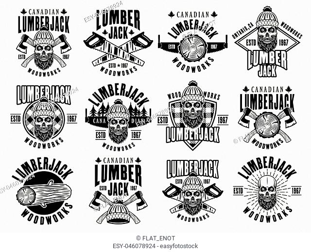 Lumberjack and woodworks set of twelve vector emblems, labels, badges or logos in vintage monochrome style isolated on white background