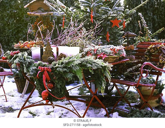 Table decorated for Christmas in open air