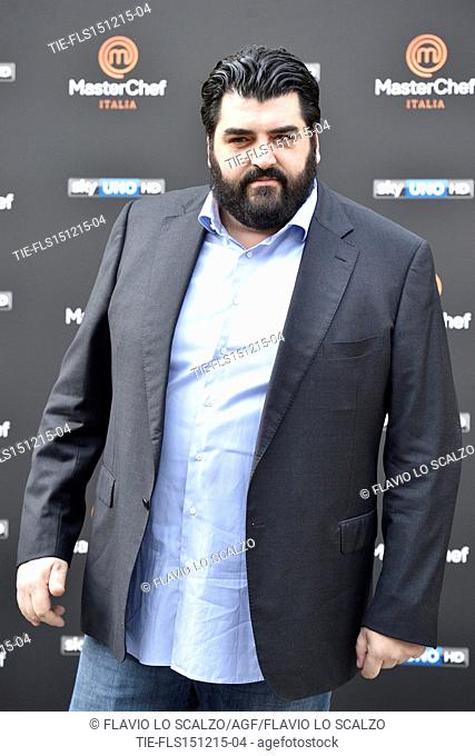 The Chef Antonino Cannavacciuolo during the photo call of the fifth edition of tv programme Masterchef Italy, Milan, ITALY-15-12-2015