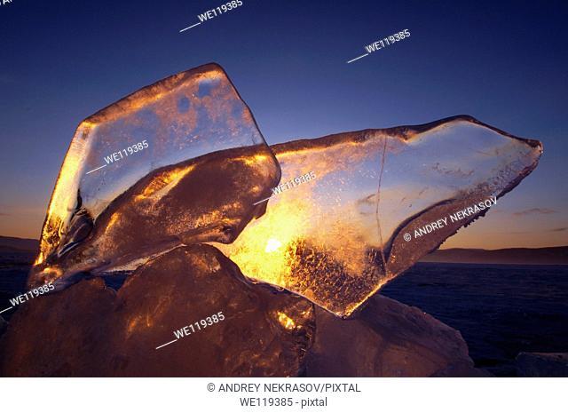 Ice formation, Olkhon island, Lake Baikal, Siberia, Russian Federation, Eurasia