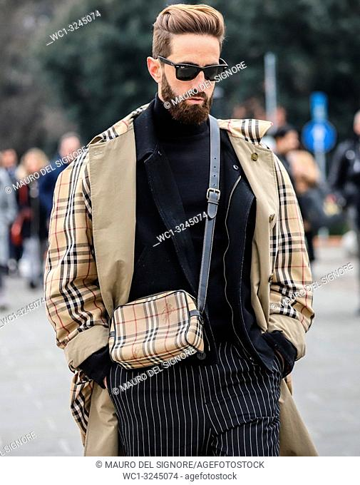 FLORENCE, Italy- January 8 2019: Andres Gomez Moron on the street during the Pitti 95
