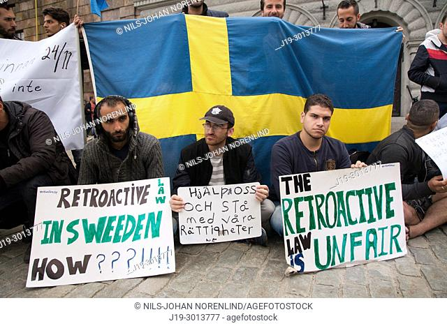 Immigrants demonstrating Stockholm, Sverige