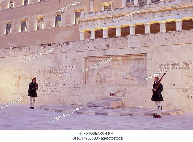Parliament, Athens, Greece, Europe, Guards of Honor (evzones) standing at the Tomb of the Unknown Soldier at the House of the Greek Parliament at Plateia...