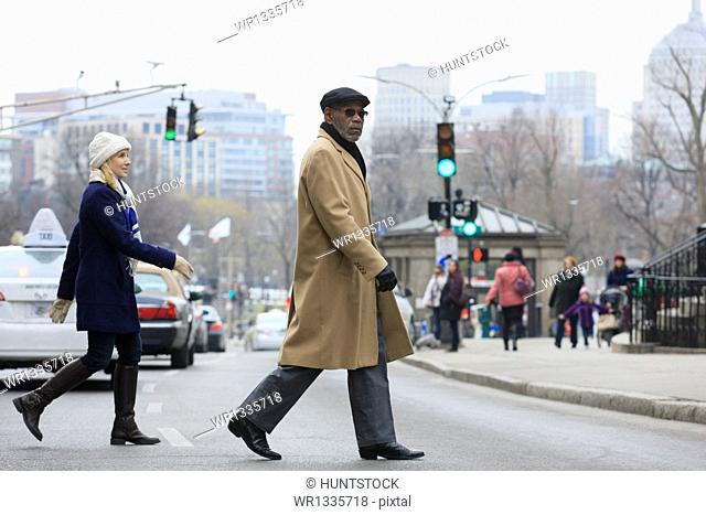 People crossing Tremont Street, Boston, Suffolk County, Massachusetts, USA