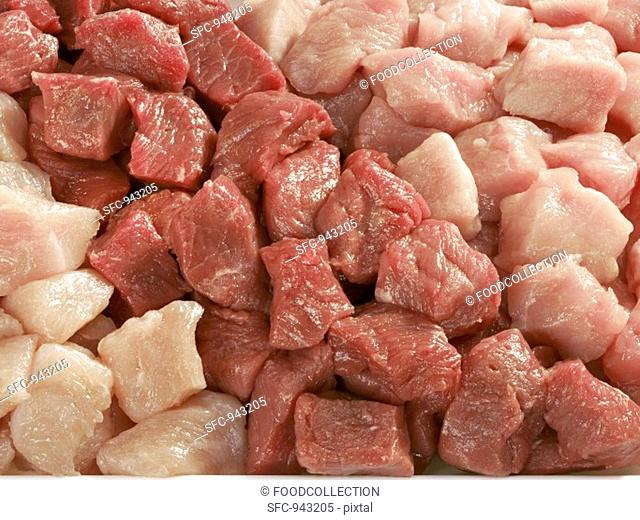 Diced beef, pork and turkey