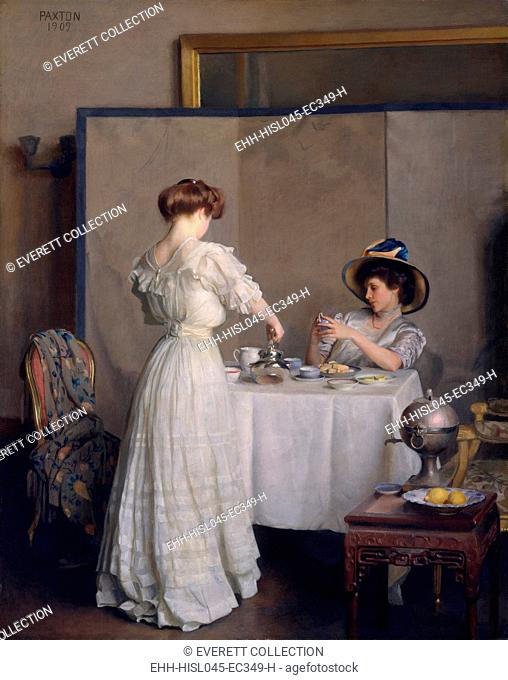 TEA LEAVES, by William McGregor Paxton, 1909, American painting, oil on canvas. Elegantly dressed women, having tea at a table