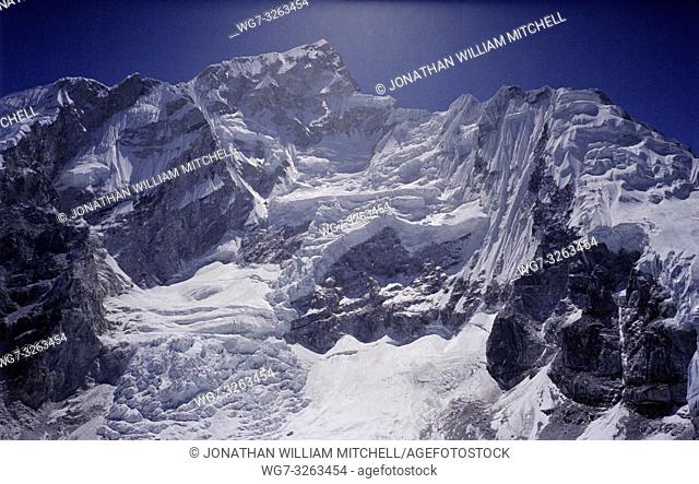 NEPAL Mount Nuptse -- Dec 2005 -- Landscape showing the glacier on the western slope of Mount Nuptse ( 7879 metre summit - and part of the Everest Massif ) in...