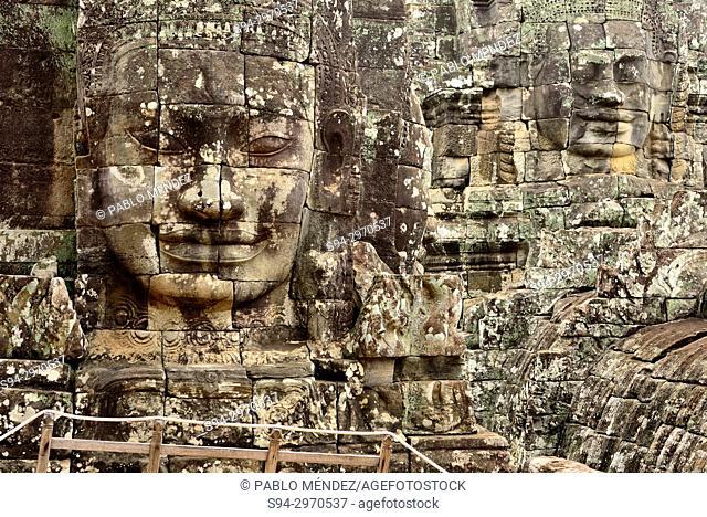 Stone faces of Bayon temple, Angkor Thom, Siem Reap, Cambodia