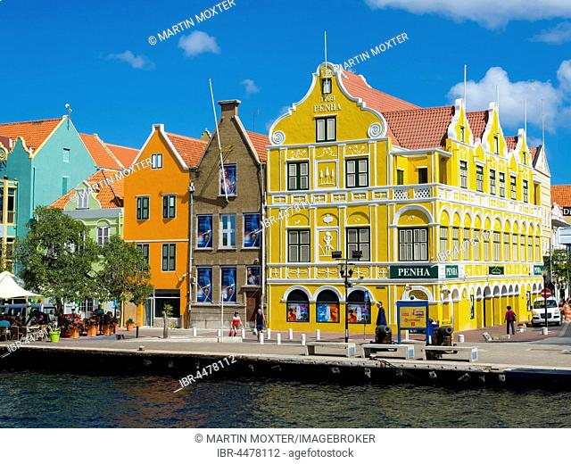 Historic buildings in Dutch-Caribbean colonial style, waterfront, Willemstad, Lesser Antilles, Curacao