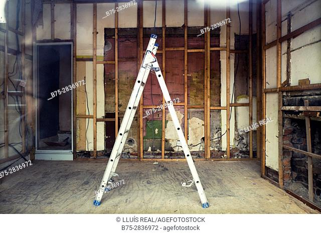 Interior of a building under renovation with a ladder. Keighley, Bradford, West Yorkshire, UK