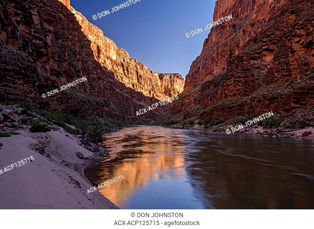 Grand Canyon cliff reflections in the Colorado River, Grand Canyon National Park, Arizona, USA