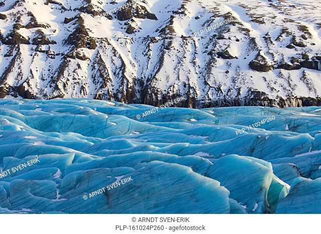 Blue ice on Svinafellsjökull, arm of the Vatnajökull, Iceland's largest glacier in winter